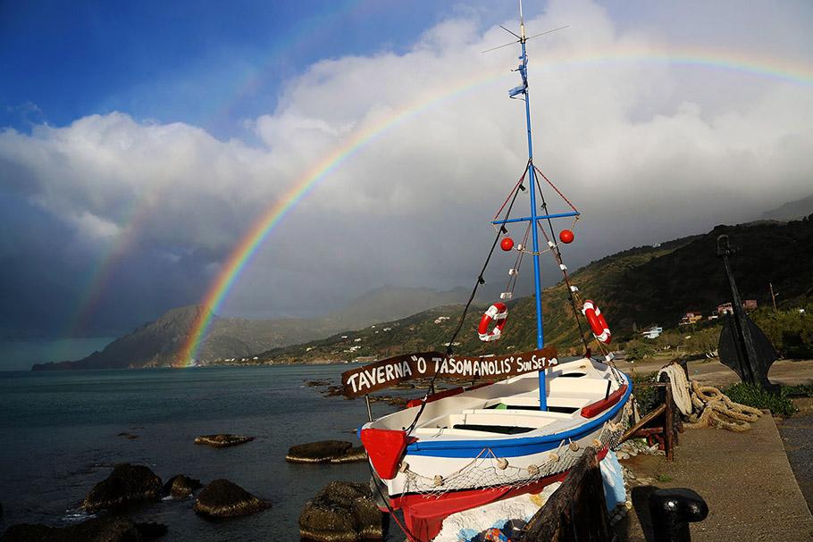 그리스 크레타섬 무지개